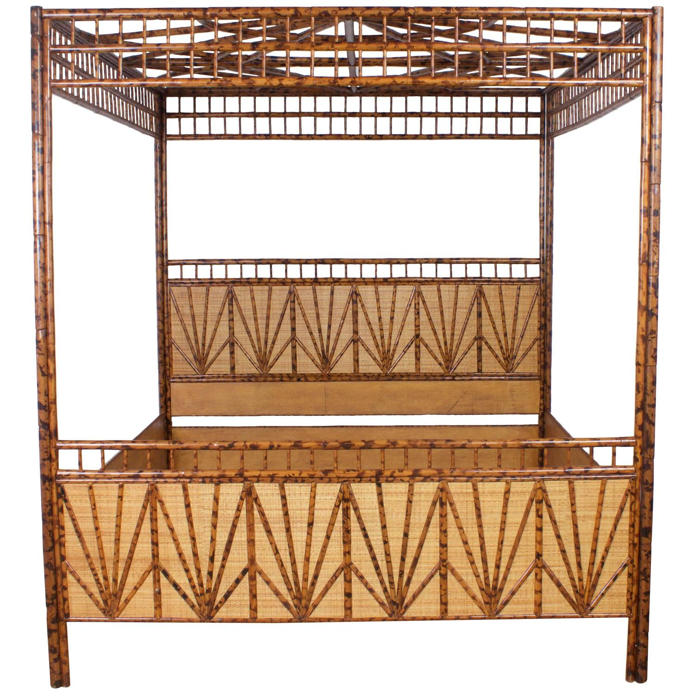 Dramatic King Size Mid Century Maitland Smith Canopy Bed