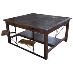 Large French Industrial Table with Swing Out Attached Seats