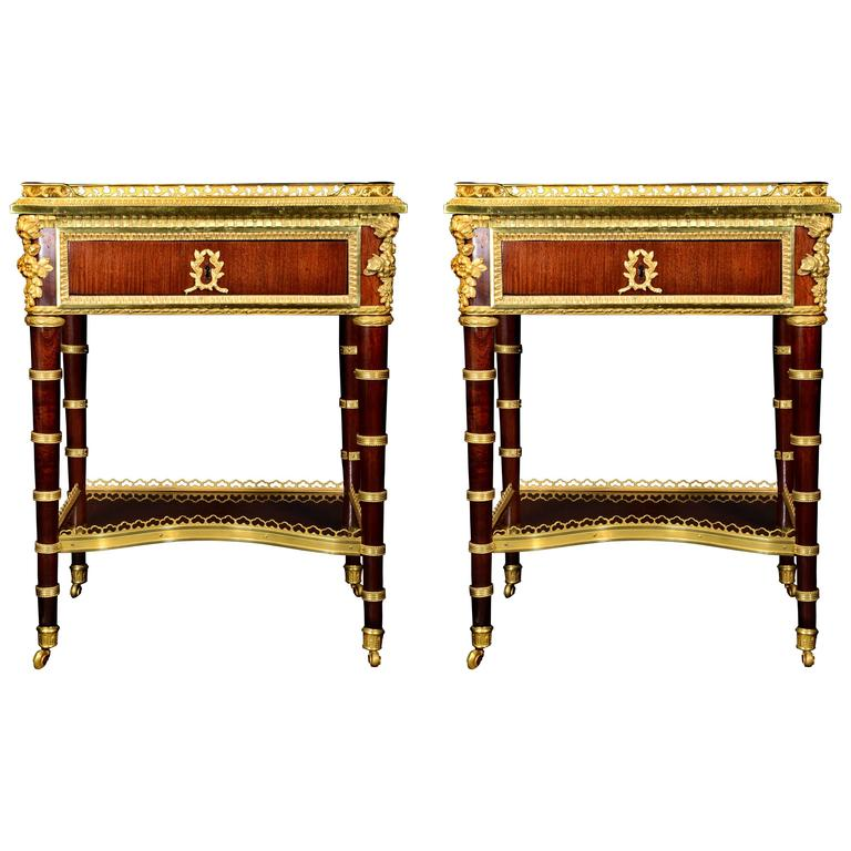 Pair of Antique French Louis XVI Style Gilt Bronze-Mounted Mahogany Side Tables