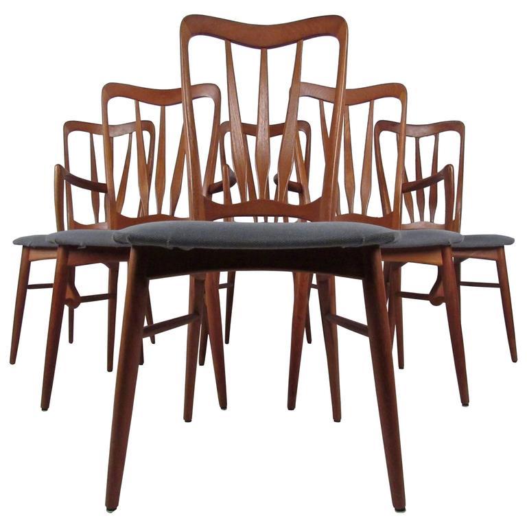 Vintage Modern Teak Dining Chairs after Folke Ohlsson