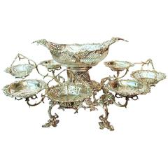 George III English Sterling Silver Baskets Epergne, Thomas Powell, 1763-1764