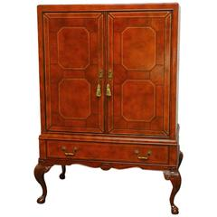 Maitland-Smith Tooled Leather Wrapped Armoire Cabinet