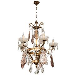 Ornate Crystal Drop Chandelier with Pink Glass Details