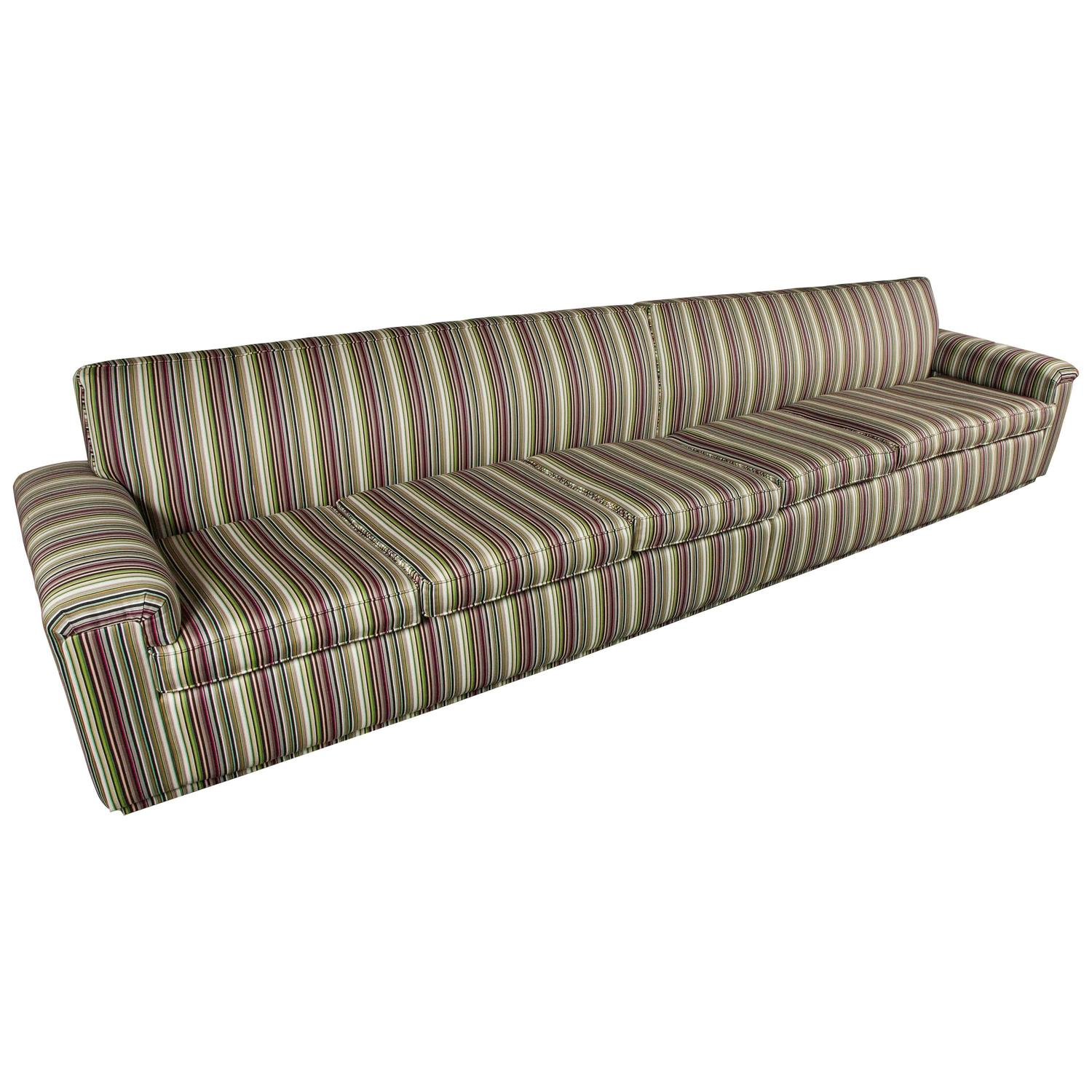 Unique long sofa by shaun clarkson in brightly striped for Long couches for sale
