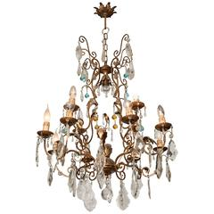 Ornate Crystal Drop Chandelier with Blue Glass Details