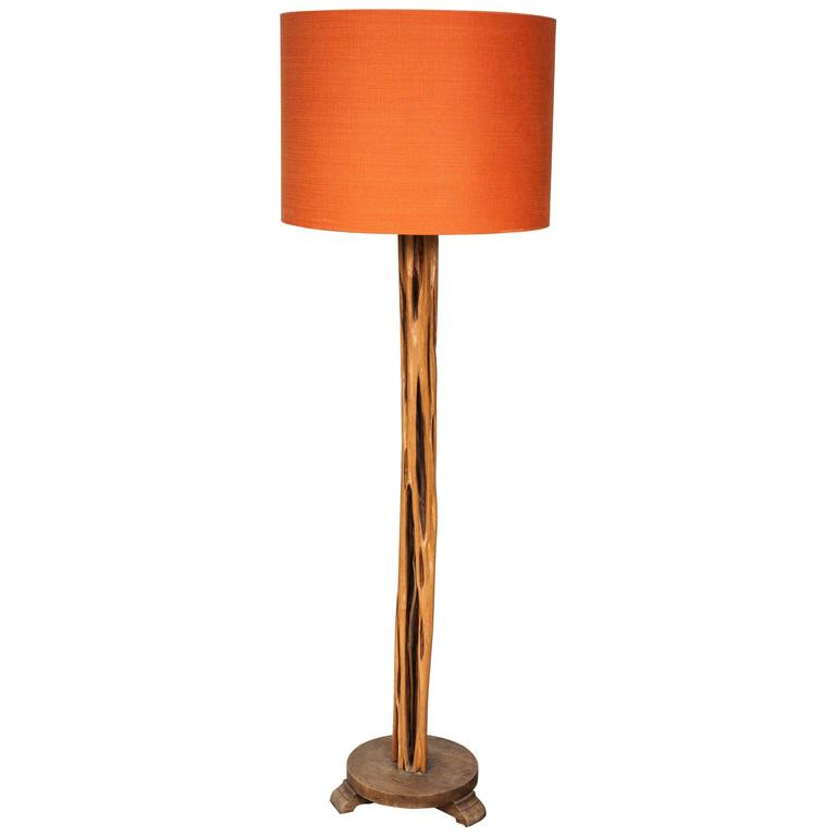 Wooden standing lamp with modern orange silk shade for for Orange tiffany floor lamp