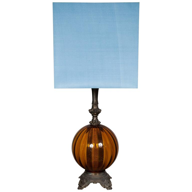 round dark amber glass lamp base with modern square silk. Black Bedroom Furniture Sets. Home Design Ideas