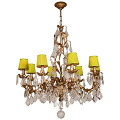 Ornate Crystal Drop Chandelier with Green Shades