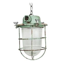 Industrial Cage Light with Ribbed Glass