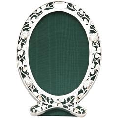 Art Nouveau Sterling Silver Pierced Footed Oval Picture Frame