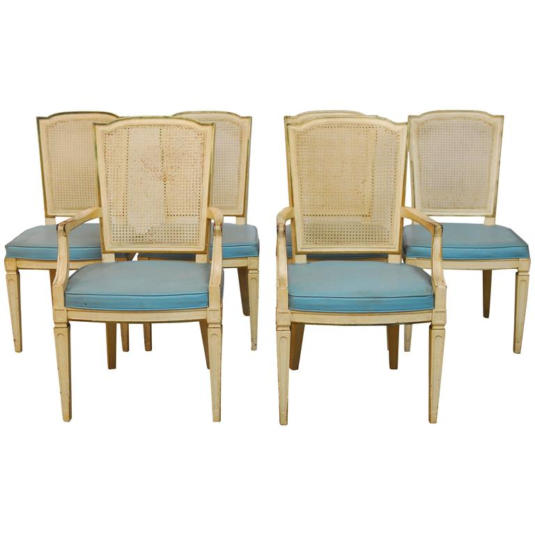 set of six louis xvi style cane dining chairs by henredon