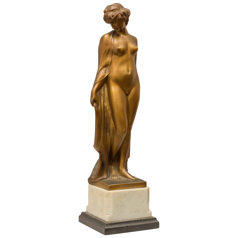 """Art Deco Figure of a Nude, Artist Signed, """"Peleschka"""" ca.1920"""