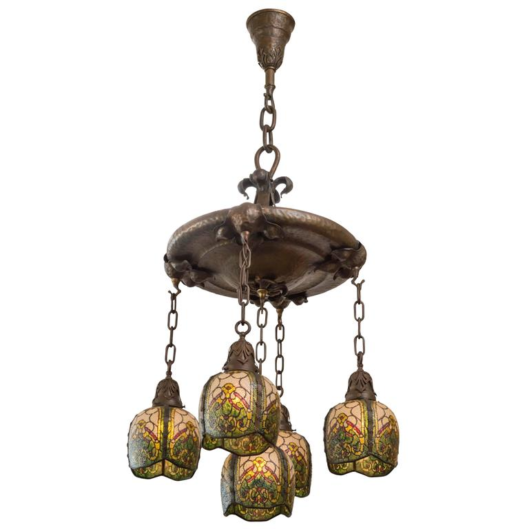 Five arm arts and crafts chandelier by the john morgan for Arts and crafts chandelier