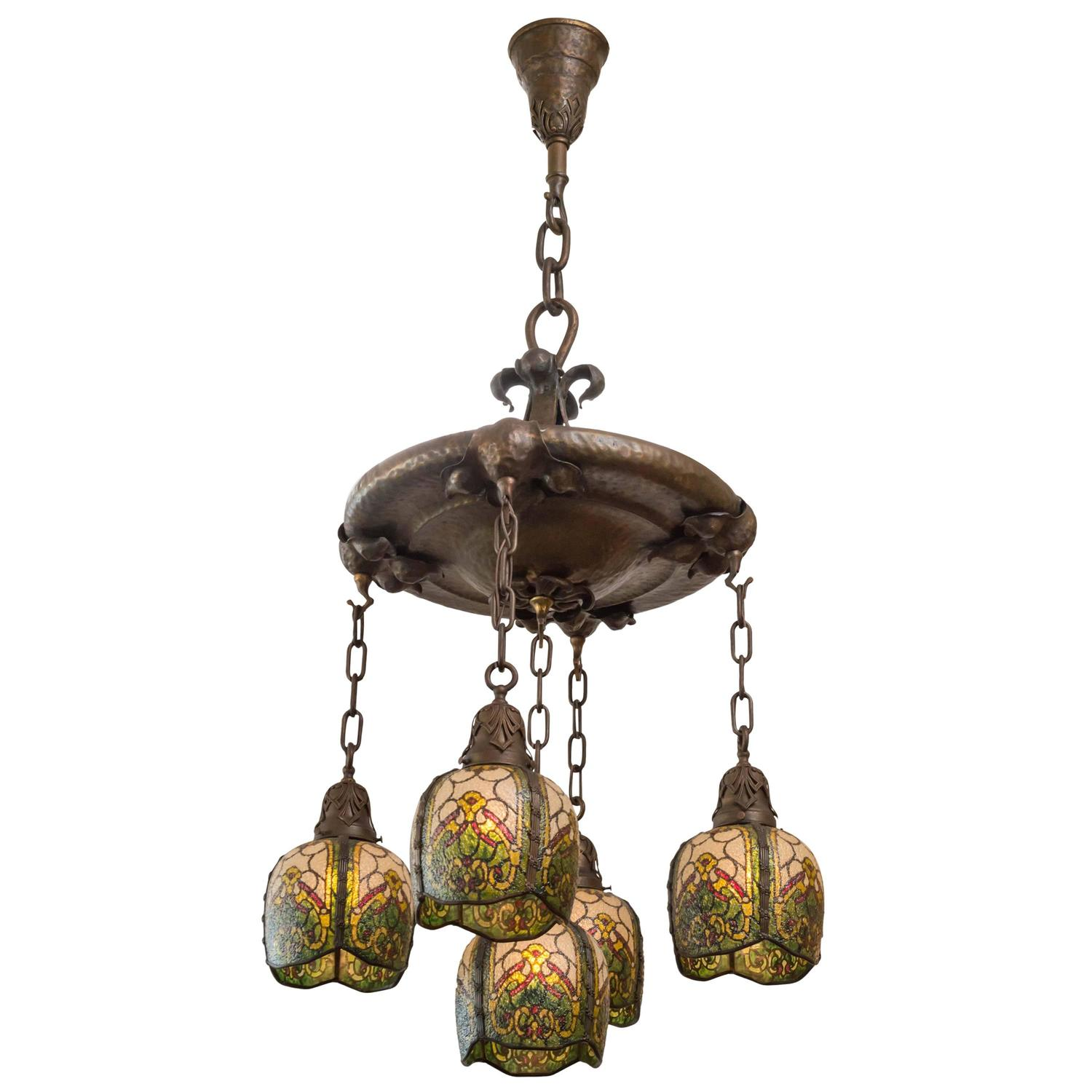 Five Arm Arts and Crafts Chandelier by the John Morgan