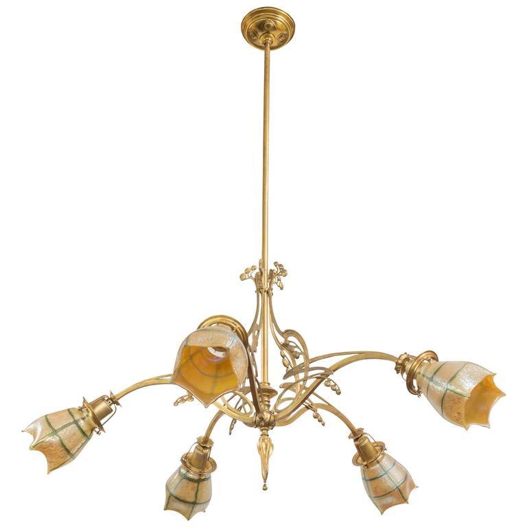 Austrian art nouveau secessionist five arm chandelier for Chandelier art nouveau