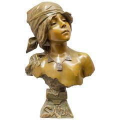 """Bronze Bust, Artist Signed """"Villanis"""""""