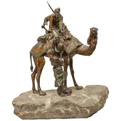 Vienna Bronze Group/Arabs and Camel on Stone, Signed Bergmann