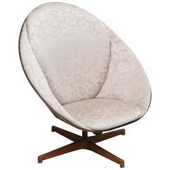 Rare Early Edition Plycraft Swivel Wooden Egg Chair, 1950s, USA
