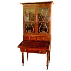 19th Century Federal Period Duncan Phyfe Style Flame Mahogany Secretary Bookcase