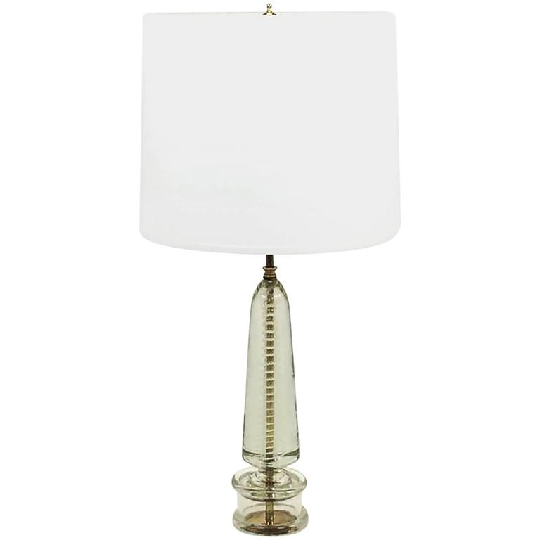 Controlled Bubble And White Spiral Murano Glass Table Lamp, Style Of Seguso