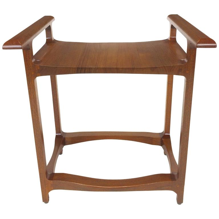 Signed and Dated Studio Crafted Teak Wood Bench Seat