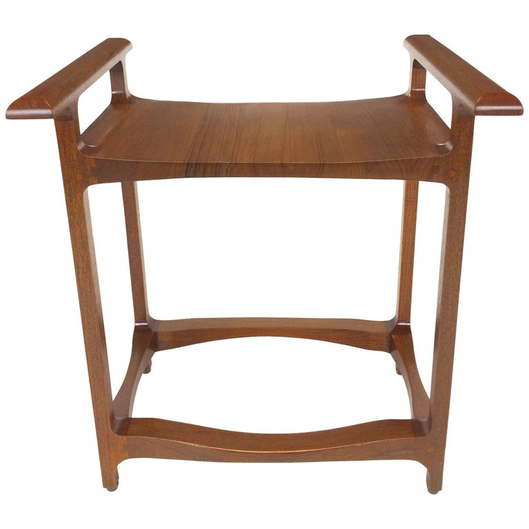 Signed and Dated Studio Crafted Teak Wood Bench Seat For Sale