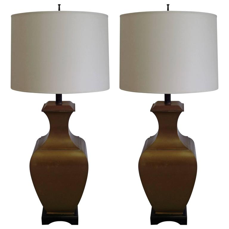 Pair of Large French Mid-Century Modern Neoclassical Brass Table Lamps For Sale