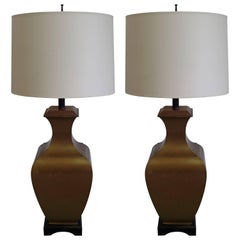 Pair of Large French Mid-Century Modern Neoclassical Brass / Bronze Table Lamps