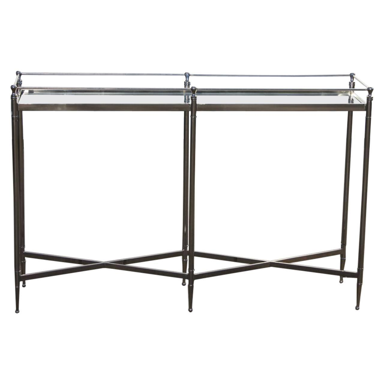 Mid Century Modern Chrome And Glass Console Narrow Table