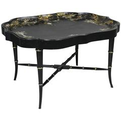 Victorian Papier Mache and Mother of Pearl Tray Table