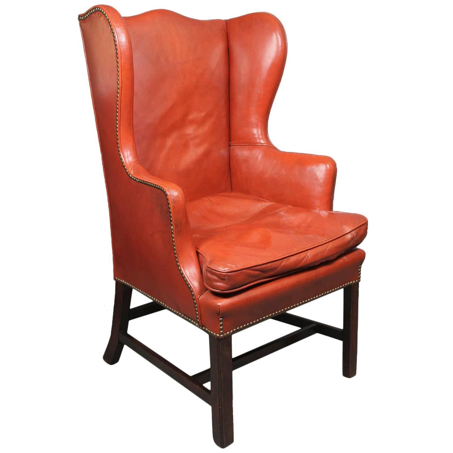 George III Mahogany Wing Chair For Sale at 1stdibs