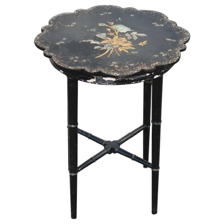 Small Chinoiserie Side Table or Stool Black Faux Bamboo Legs