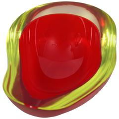 Signed Gino Cenedese Red and Yellow Murano Glass Geode Bowl or Ashtray, 1960s