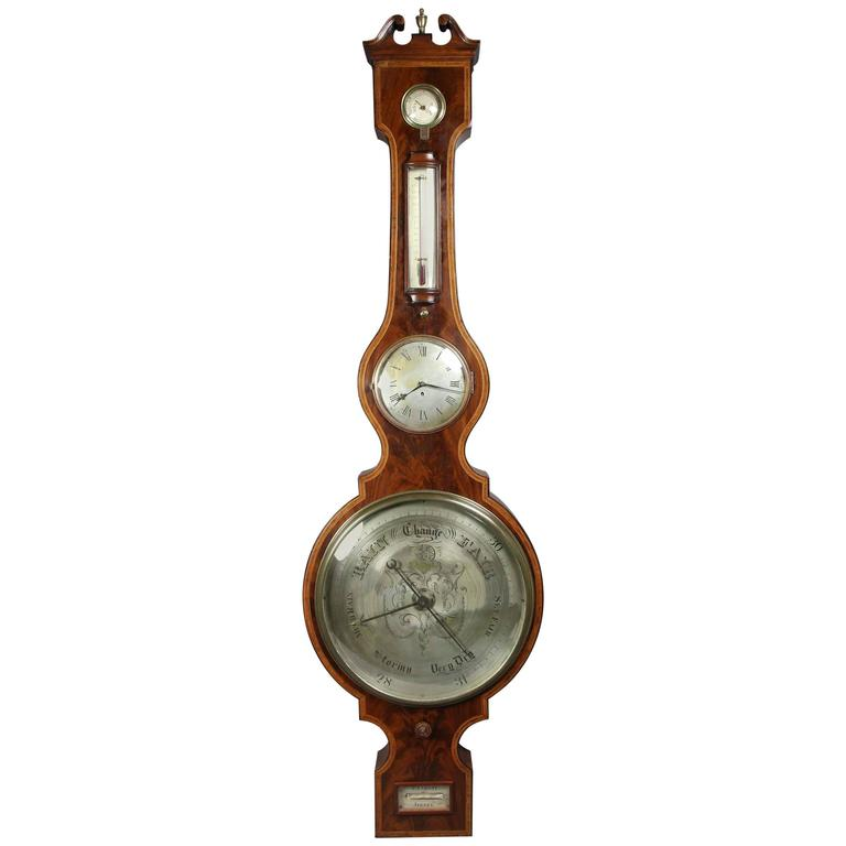 Regency Mahogany and Inlaid Barometer or Clock by P. Taroni, Jersey