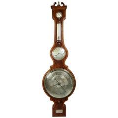 Regency Mahogany and Inlaid Barometer or Clock by P. Taroni, Jersey