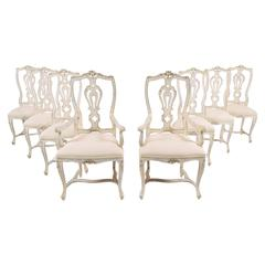 Set of Eight Italian Painted  Carved Dining Chairs
