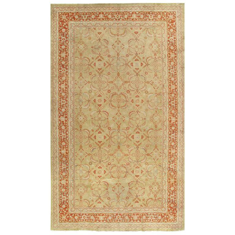 Moroccan Scroll Tile Light Blue Handmade Persian Style: Antique Oushak Carpet Handmade Oriental Rug, Pale Green