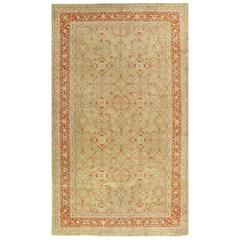 Antique Oushak Carpet Handmade Oriental Rug, Pale Green Coral, Taupe, Cream Fine