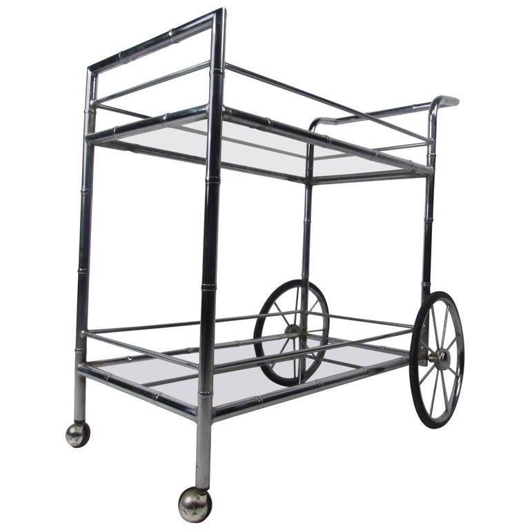 Vintage Chrome Bar Cart For Sale