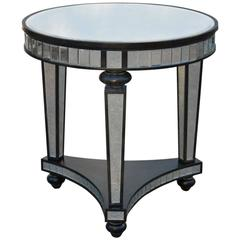1980s Mirror Panel Ebonized Wood Frame Small Round  Side Table