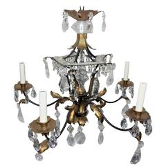 Wonderful Bagues Five Light Rock Crystal Beaded Two-Tone Gilt Pagoda Chandelier