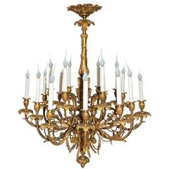 Fine 19th Century French Doré Bronze 18-Light Palatial Neoclassical Chandelier
