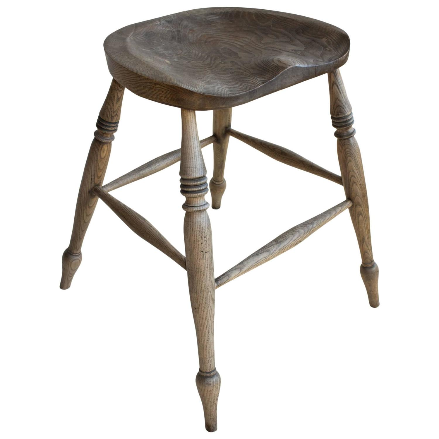 English Elm Pub Stool At 1stdibs