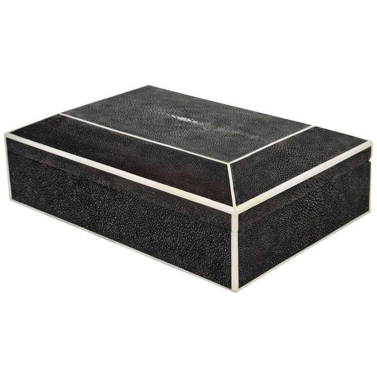 Genuine Shagreen Box with Bone Inlay For Sale