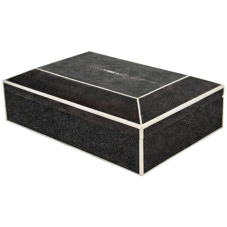 Genuine Shagreen Box with Bone Inlay