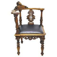 19th Century, French Carved Walnut Corner Armchair with Black Leather Seat