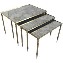Nesting Tables in Brass with Mirrored Top by Maison Jansen France