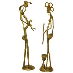 Pair of African Sculptures in Bronze