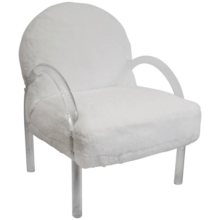 Lucite and White Shearling Side Chair by Pace Collection, 1970s For Sale