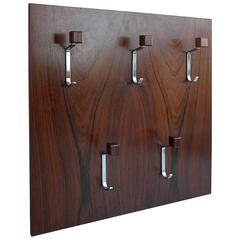 Rosewood Wall Mounted Coatrack, Denmark 1960s